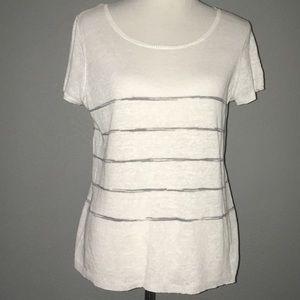 Eileen Fisher 100% organic linen top gray stripe